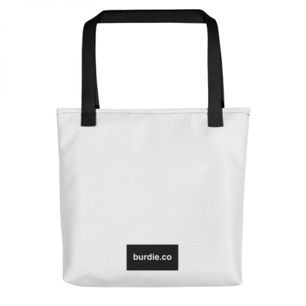 Back side of white Burdie tote bag featuring black rectangular burdie.co logo towards the bottom.