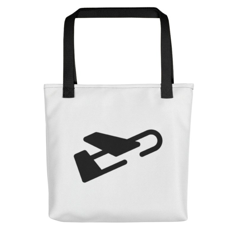 Front of white tote bag with black handles featuring the Burdie plane logo.
