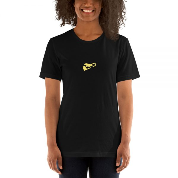 A woman models black Burdie travel shirt against a white background.