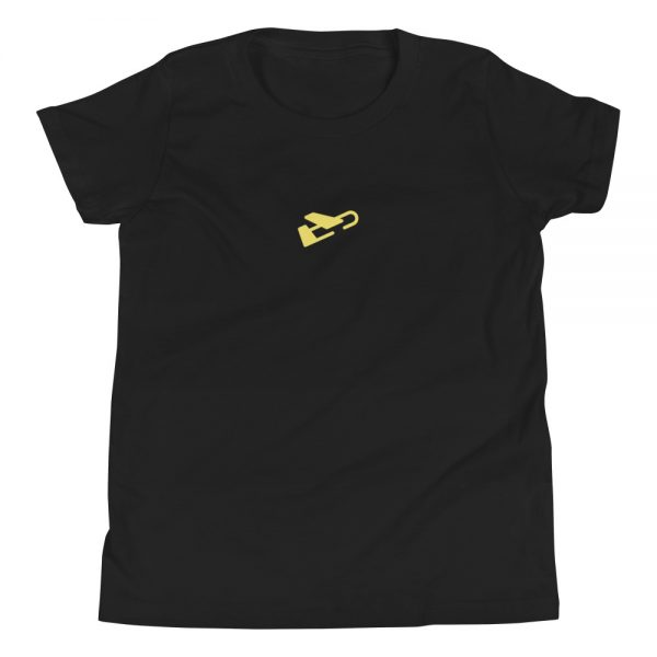 black burdie.co takeoff tee shirt with yellow plane logo in the center