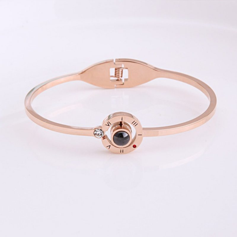 Front of 100 Languages Bracelet in Rose Gold