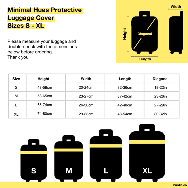 Graphic illustrating sizes of protective luggage covers which fit suitcases between 18 to 32 inches.