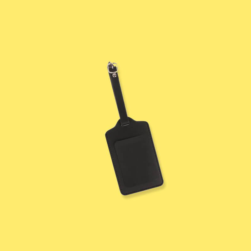 Black Minimal Hues Faux Leather Luggage Tag on yellow background