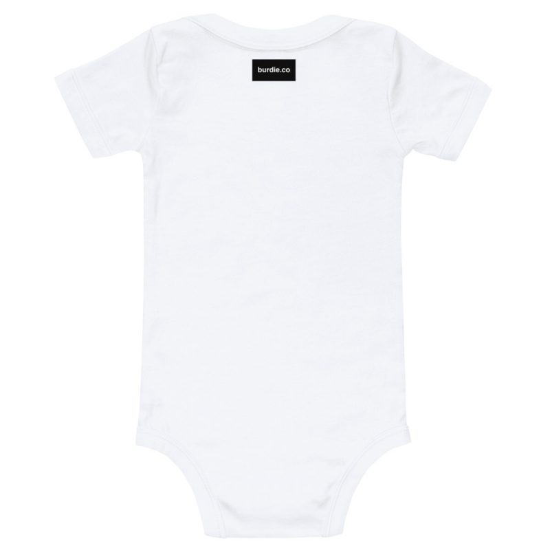 back of white baby onesie with black burdie.co label