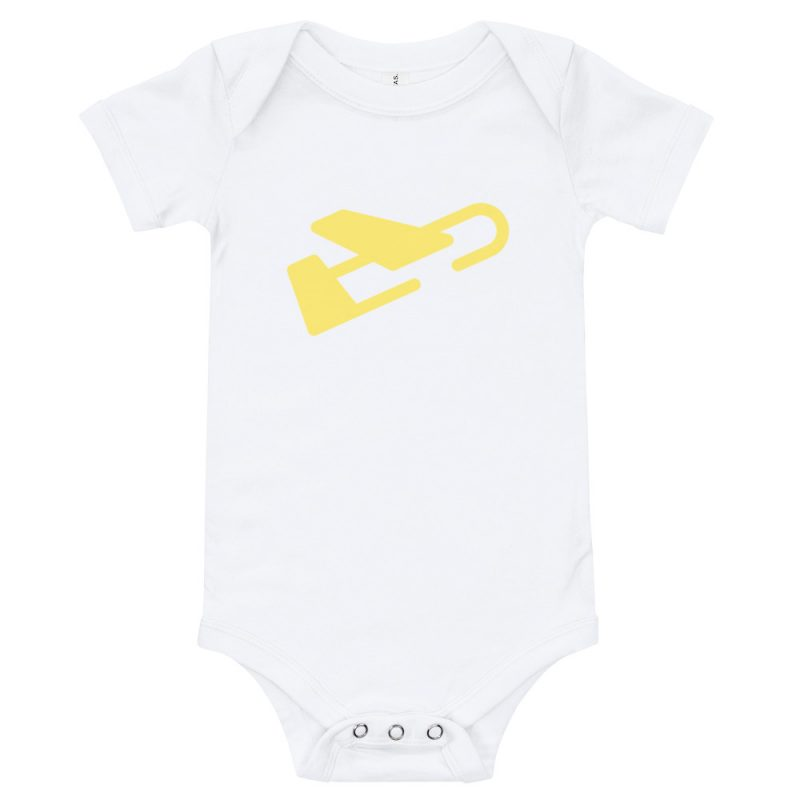 white baby onesie with yellow plane on the front