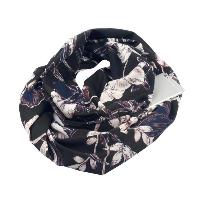 Floral Black Cotton Infinity Scarf with iPhone 6 placed in its hidden pocket