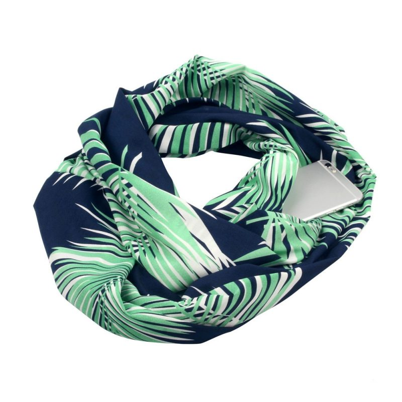 Leafy Navy Cotton Infinity Scarf with iPhone 6 placed in its hidden pocket