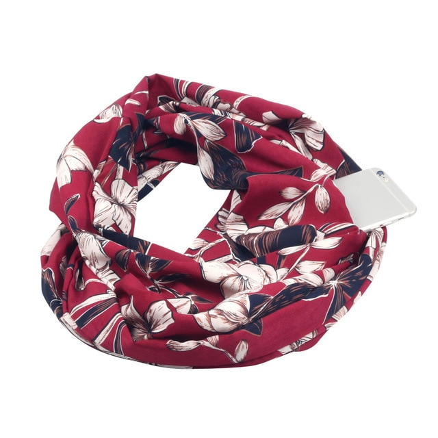 Floral Wine Cotton Infinity Scarf with iPhone 6 placed in its hidden pocket