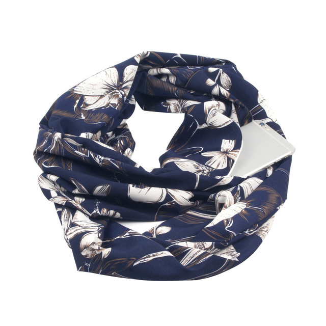 Floral Navy Cotton Infinity Scarf with iPhone 6 placed in its hidden pocket