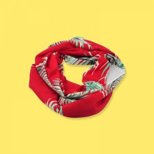 Red Cotton Infinity Scarf with iPhone 6 placed in its hidden pocket
