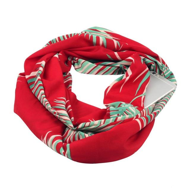 Leafy Red Cotton Infinity Scarf with iPhone 6 placed in its hidden pocket